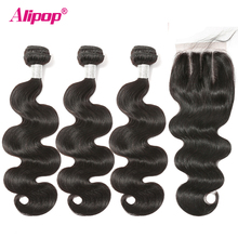 Alipop Hair Body Wave Bundles With Closure Brazilian Hair Weave Bundles With Closure Remy Human Hair Bundles With Lace Closure