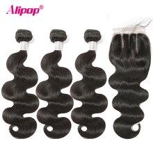 Alipop Hair doczepy typu body wave z zamknięciem brazylijskie włosy wyplata wiązki z zamknięciem Remy wiązki ludzkich włosów z zamknięcie koronki