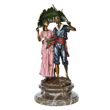 Couple Statue Copper Material Man and Woman Deep Love Modern Sculpture Figurine for Wedding Valentine's Day Present Home Decor
