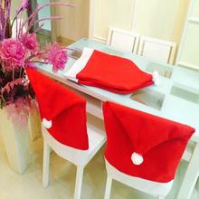 4pcs Christmas Chair Cover Santa Clause Red Hat Chair Back Covers christmas decorations for home Christmas