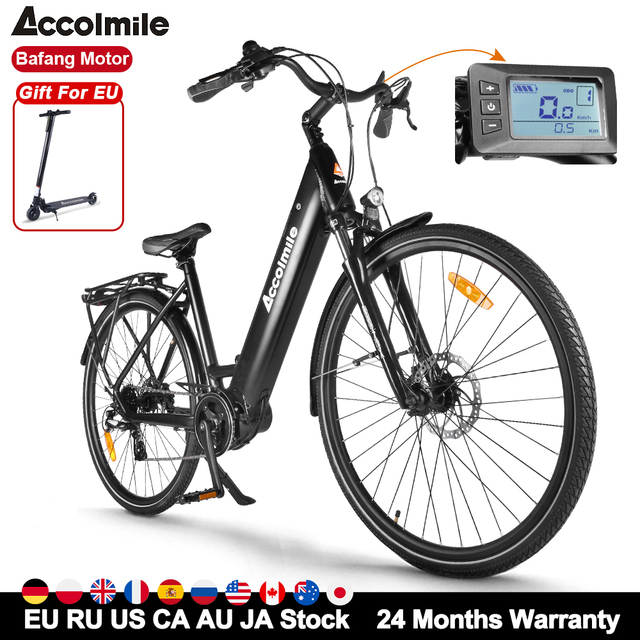 Accolmile 700C Urban Electric Bike High Torque City Commuter Electric Bicycle 250W with Bafang M200 Motor 15Ah Battery 8 Speeds