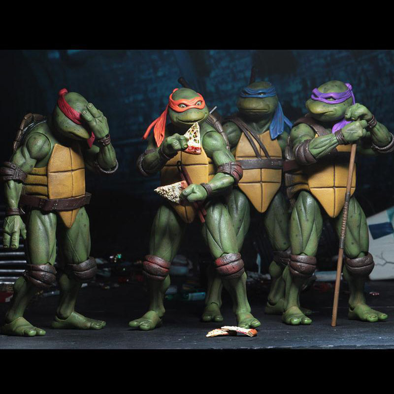 4pcs/set 2018 SDCC Limited Edition Cartoon Turtle Model  Doll Ornaments Model SIZE 18CM PVC Kid's Gift