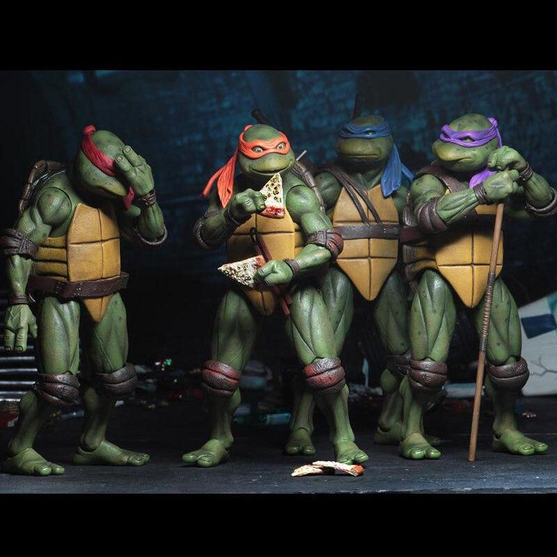 4pcs/set 2018 SDCC Limited Edition Cartoon Turtle Model Ninja Doll Ornaments Model SIZE 18CM PVC Kid's Gift