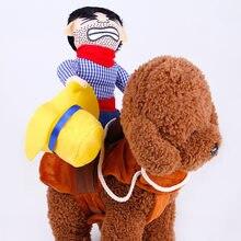 Cão de estimação cowboy rider roupas com chapéu terno bonito para o dia das bruxas chrismas festival decorações festa filhote cachorro cães cosplay traje