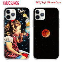 Silicone TPU Cover for iPhone 11 11Pro XS MAX XR X Space Moon weird Astronaut for iPhone 8 7 6S 6 Plus 5S Phone Case(China)
