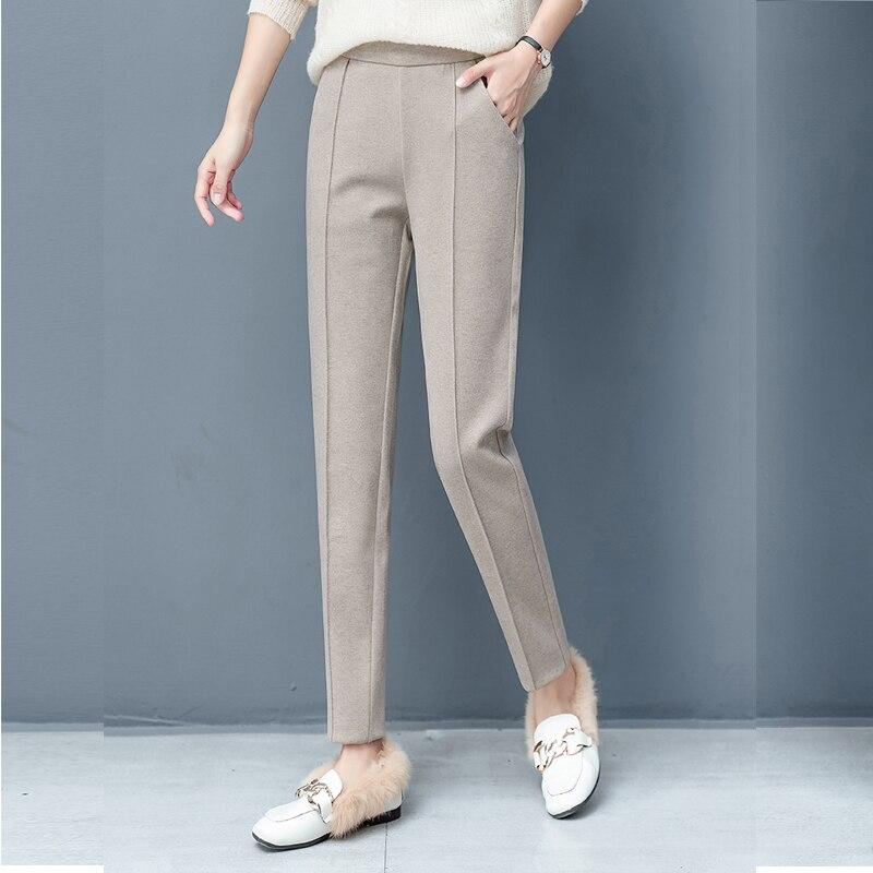 Legible 2020 Thicken Pencil Pants Women Autumn Winter OL Style Wool Female Work Suit Pant Regular Female Trousers Capris| | - AliExpress