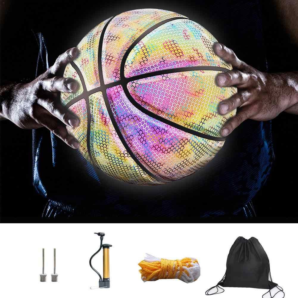 Luminosa basquete noite jogo rua plutônio brilhante arco-íris luz crianças ferramenta de treinamento rua basquete mostrar crianças treinamento