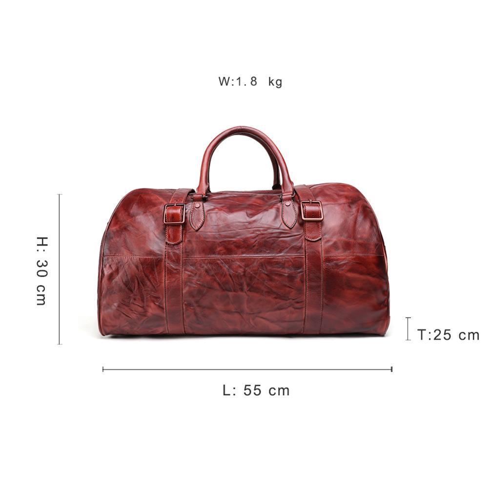 JOGUJOS Homens Duffel Bag dos homens de Couro Genuíno Bolsa Saco Saco de Viagem Bagagem Bolsa de Ombro Projeto Duffle Bag Weekend Tote Do Vintage homens - 2