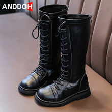 Size 26-36 Korean Version Girls High Boots Children Casual Leather Wear-resistant Martin Boots Kids Non-slip Water Proof Shoes