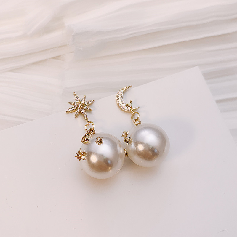 2019 fashion pearl asymmetric Star Moon design Dangle Earrings contracted exquisite crystal Water Drop style Women earrings new