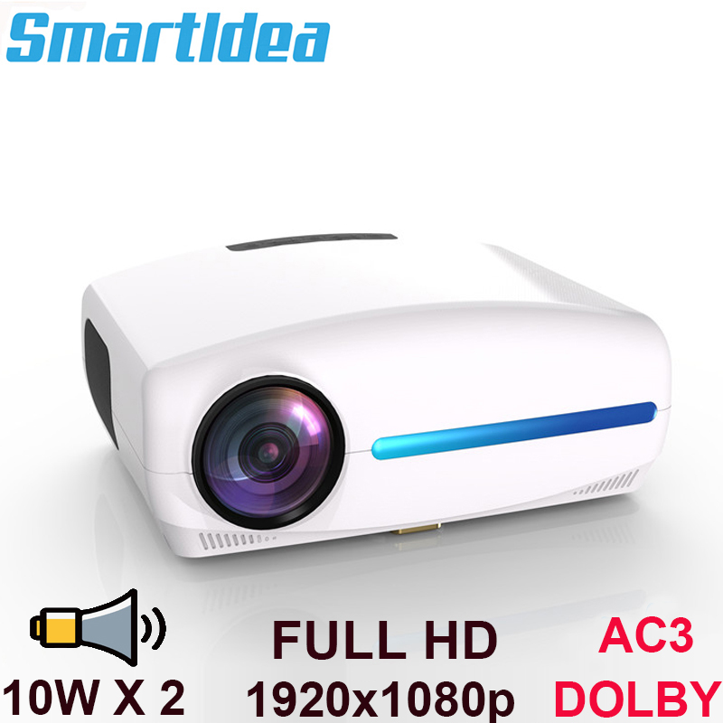 Smartldea 1080P Full HD Projector Android 9 0 WiFi Optional 1920x1080P Resolution 6500lumen LED Proyector Home
