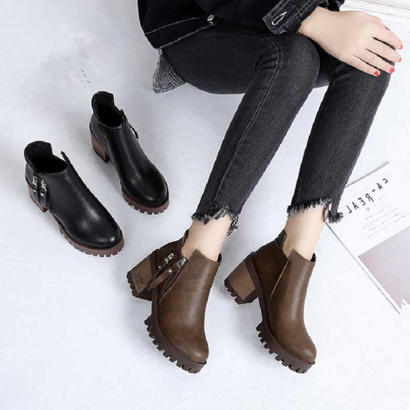 2019 Autumn Fashion Women Boots High Heels Platform Buckle Lace Up Leather Short Booties Black Ladies Shoes Good Quality.