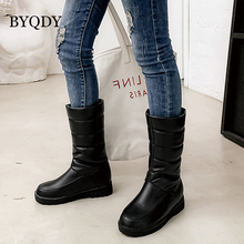 BYQDY Winter Warm Plush Mid-Calf Boots Women Med Heel Snow Boots Slip On Platform Woman Long Boots Shoes Black Pink White 2020 xiaying smile winter women snow boots warm antieskid mid calf boots platform strap slip on flats casual women flock rubber shoes
