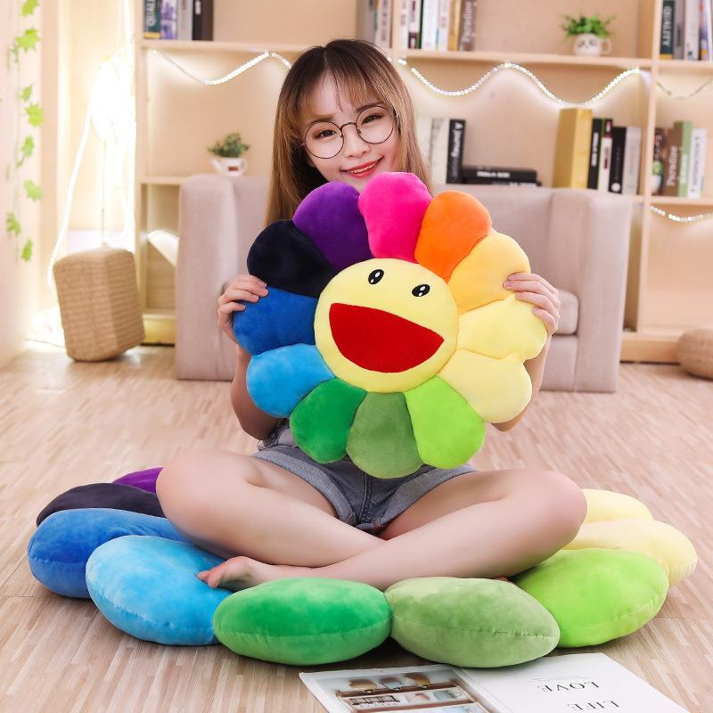 Rainbow Color Flower Bedroom Living Room Seat Cushion Cute Sunflower Yoga Mat Children Kindergarten Plush Coaster