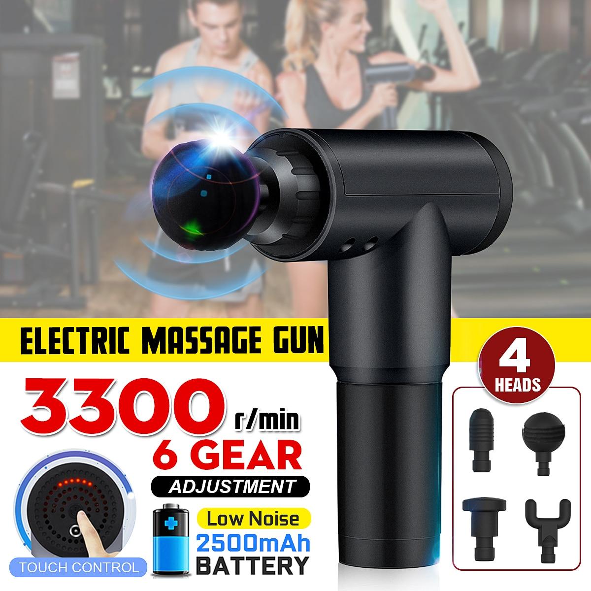 Elektronische Therapie Körper Massage Guns 3 Dateien 24V Bürstenlosen LED Massage Pistolen Körper Muskeln Entspannen Relief Schmerzen Mit 4 köpfe