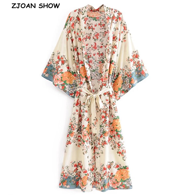 BOHO Location Floral Print Long Kimono Shirt Beige Hippie Women Lacing up Tie Bow Sashes Long Cardigan Loose Blouse Tops Holiday