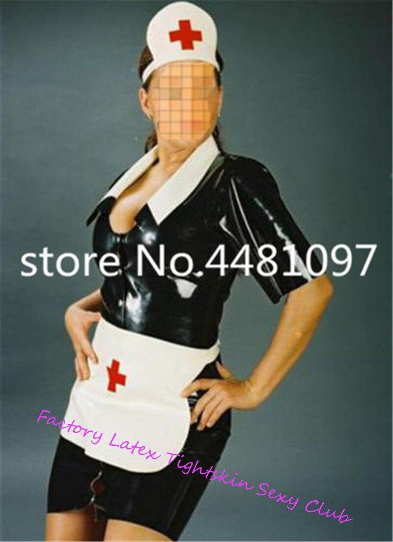 Sexy Latex infirmière médecin uniforme Cosplay Costume pour les femmes avec chapeau en caoutchouc exotique Costumes sexy halloween costumes - 1