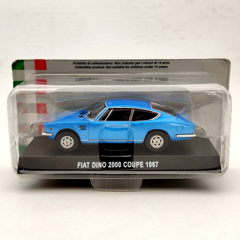 FIAT DINO 2000 COUPE CAR MODEL 1:43 SIZE BLUE DISPLAY CASE 1967 NOREV SPORTS T