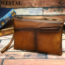 WESTAL men's day clutches for men's clutch bag genuine leather wallet/clutch male leather wallet handbag for men money bag 31121