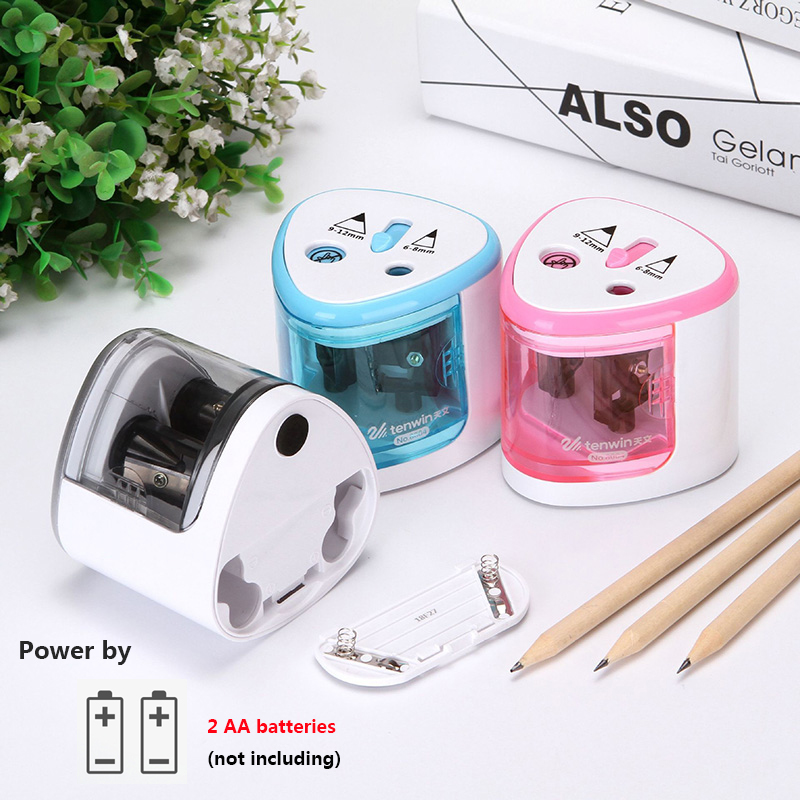 6-12 Thickness Automatic Two-hole Pencil Sharpener Electric Switch Pencil Sharpener Stationery Home Office School Supplies