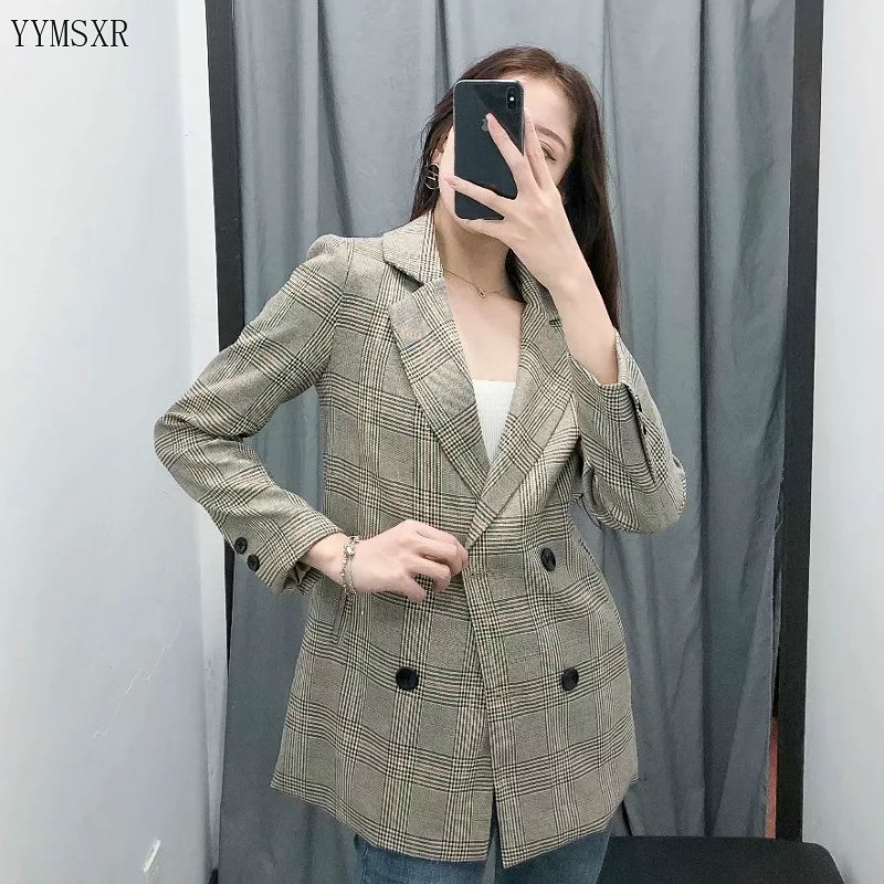 Fashion women's coat small suit feminine jacket 2020 new spring and autumn elegant checked women's blazer Casual office jacket