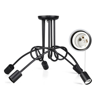 Винтажная промышленная Лофт Люстра потолочная лампа с 5 огнями (черный)