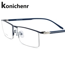 Konichenr Business Eyeglasses Men Glasses Clear Optical Myopia Frame Prescritpion Spectacles Titanium Alloy Rectangle Half