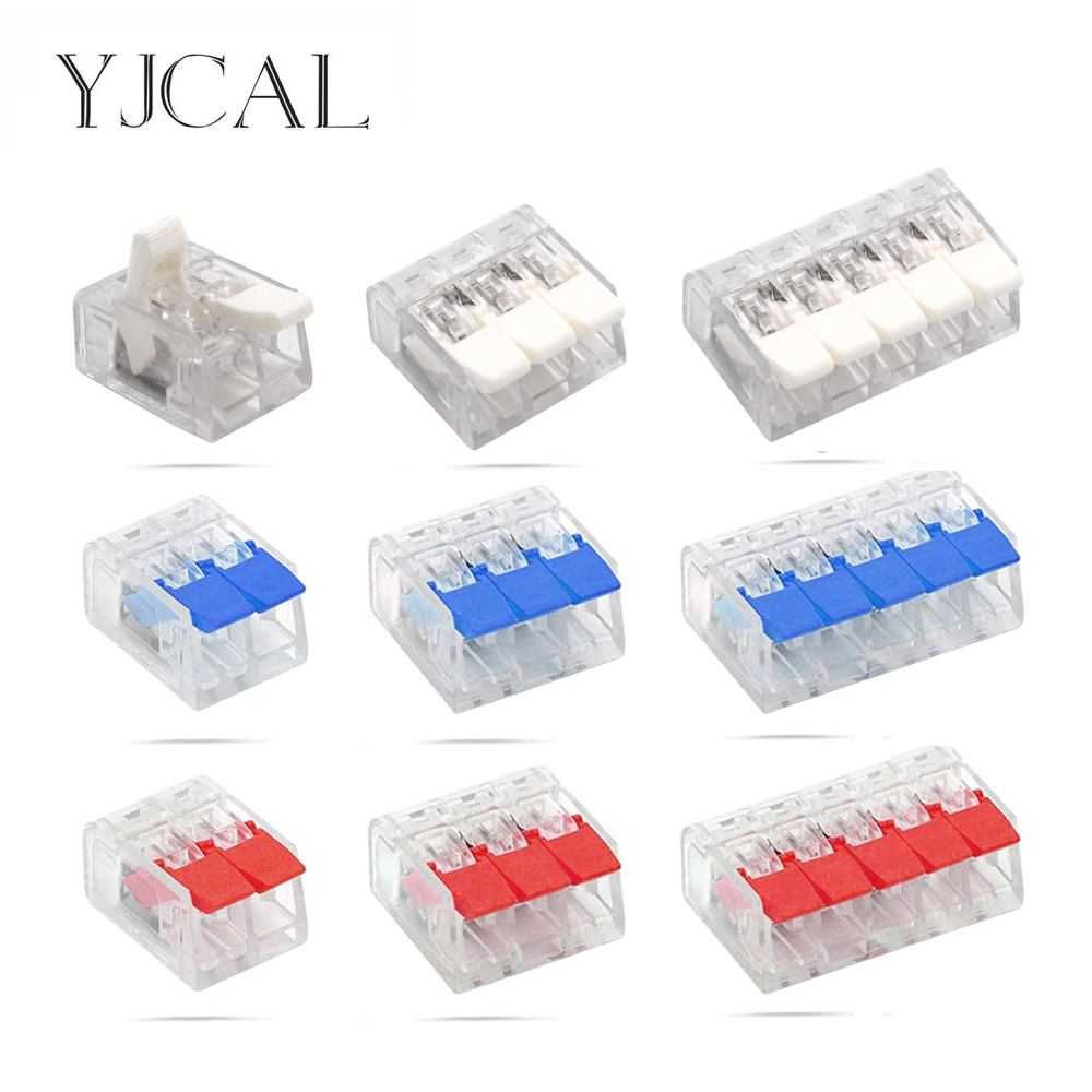 25/50/100PCS YJCAL Mini Electrical Wiring Connectors Cage Spring Universal Fast Terminal Household Push-in Terminal Block