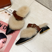 Fluffy Slippers Sexy Pointed Toe Luxury Slippers Fuzzy Slides Slip On Mules Autumn Women Shoes 2019 Elegant Plush Heels Slippers недорого
