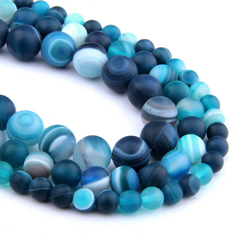 6 8 10 MM  Matte Natural Stone Beads Polished Blue Stripes Agates Stone Beads Diy Spacer loose Beads for Jewelry Making bracelet