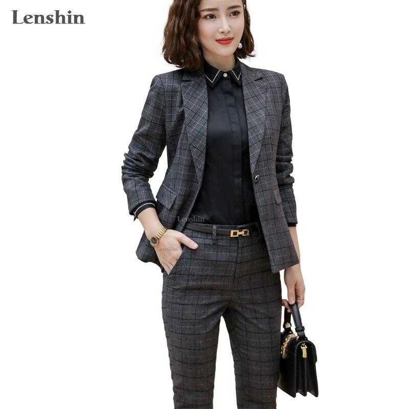 Lenshin 2 Piece Set Plaid Formal Pant Suit For Women Office Lady Work Uniform Business High-quality Suits Wholesale Dropship