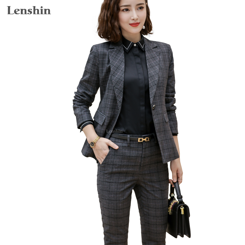 Lenshin 2 Pieces Set Plaid Formal Pant Suit Office Lady Uniform Designs For Women Business High-quality Suits Work Wear