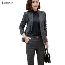 Lenshin 2 Pieces Set Plaid Formal Pant Suit Office Lady Unif