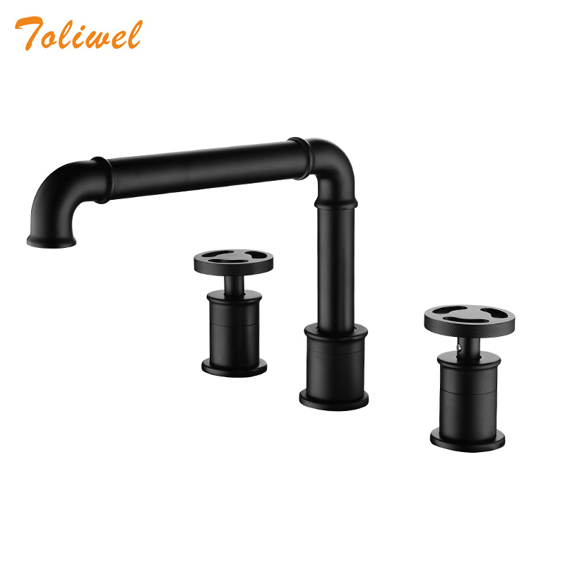 Basin Faucets Retro Industrial Style Matte Black Color Bathroom Sink Faucets 3 Holes Double Handle Hot Cold Water Tap WF0033WS