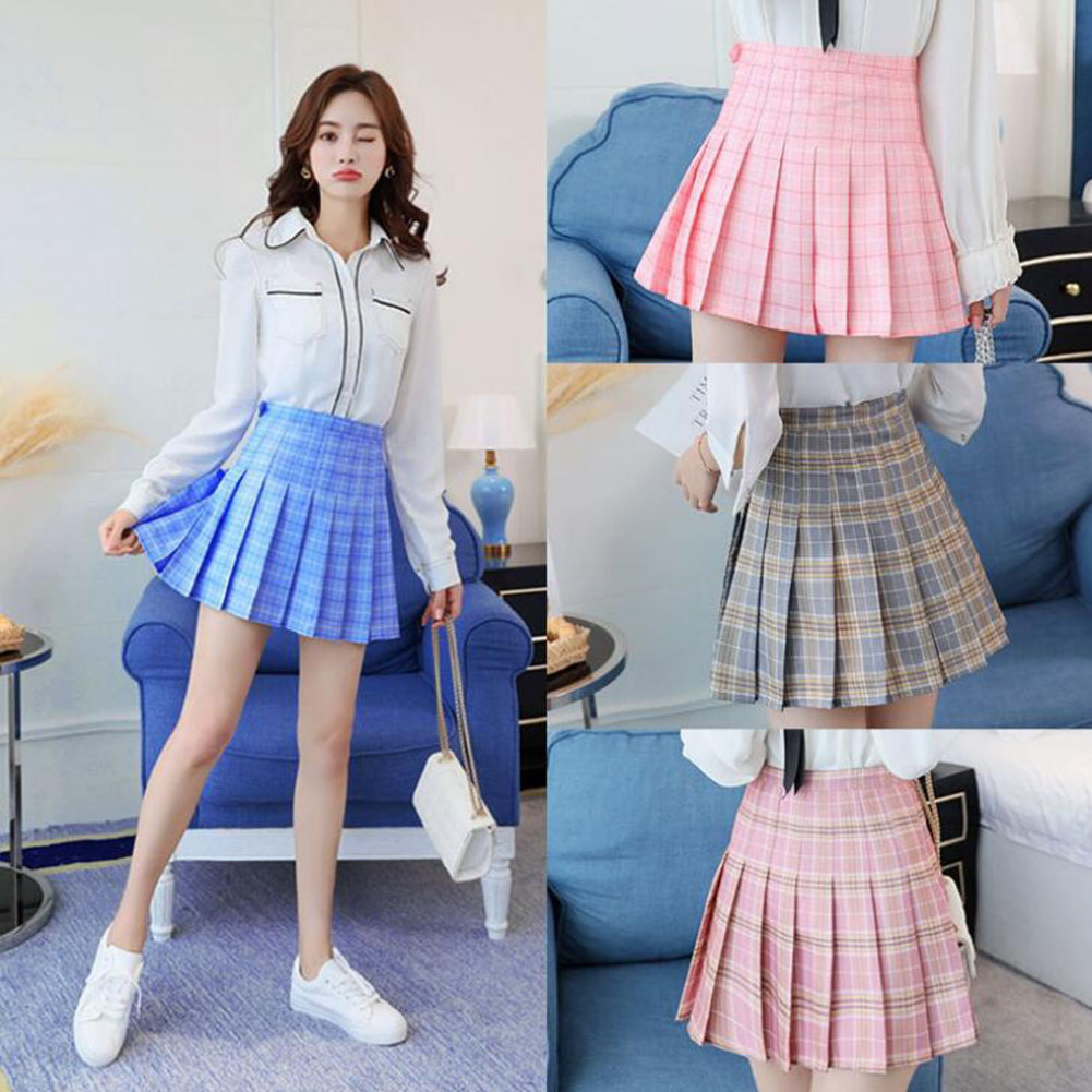 Shorts Dance-Skirt Skater Flared A-Line Plaids Cosplay Girls Sweet Mini High-Waist Women