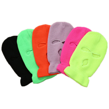 Winter Warm Full Face Cover Motorcycle 3 Hole Full Face Ski Mask  Army Tactical Windproof Knit Beanies Sports Hat Running Caps