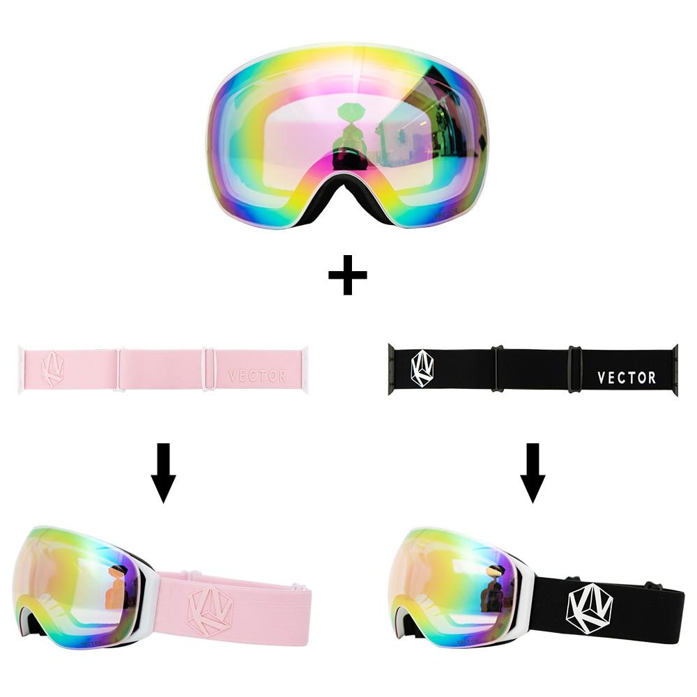 Interchangeable Strap Gift OTG Ski Snowboard Goggles Women Men Skiing Eyewear Mask UV400 Snow Protection Glasses Adult Spherical