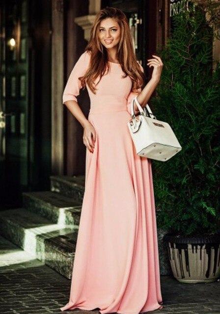 Corail longue modeste robes de demoiselle dhonneur avec demi manches a-ligne étage longueur robes de fête de mariage modeste pas cher sur mesure 2020