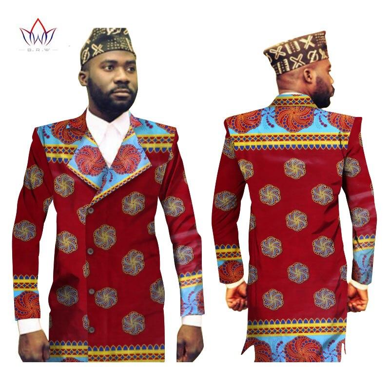 Men African Clothes Men Blazer Designs Blazer Masculino Slim Fit Dashiki Men Bazin Riche Long Jacket Blazer 6XL BRW WYN175