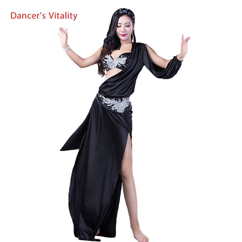 New Belly Dance Clothes Sexy Spandex Belly Dance Set Bra+Dress+Headdress+Hip Scarf Women Belly Dance Suit For Girls Clothes