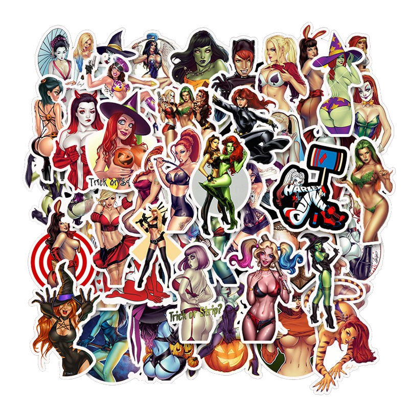 50Pcs Devil Girl Stickers Personality Sexy Girls Sticker Waterproof Graffiti For Laptop Travel Case Fridge Sticker