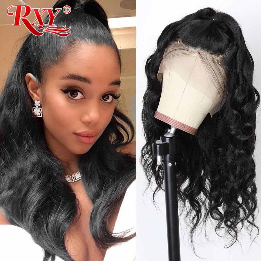 360 koronki przodu peruka wstępnie oskubane z dzieckiem włosy brazylijski ciało koronkowa fala peruka koronki przodu włosów ludzkich peruk dla kobiet RXY Remy czarny
