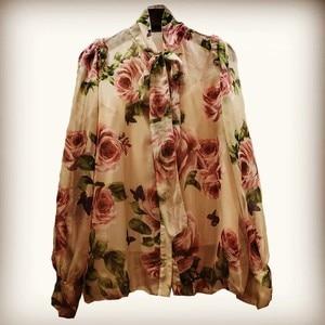 Image 4 - ニューデリー reba スターシックなブラウス牡丹プリント薄型シフォンホーン袖シャツサイズ s 3xl