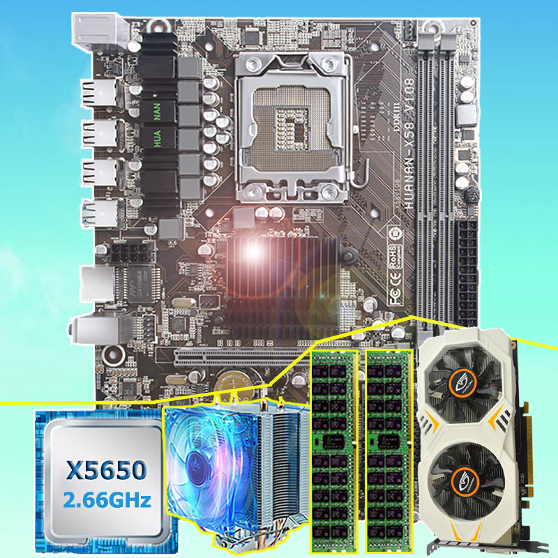 Brand Motherboard Bundle HUANAN ZHI X58 Motherboard With CPU Intel Xeon X5650 16G(2*8G) REG ECC Memory Video Card GTX750Ti 2GD5