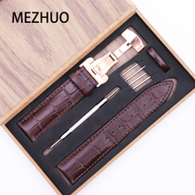 Watch Butterfly Buckle Factory Watches-Accessories Strap Genuine-Leather with Double-Press