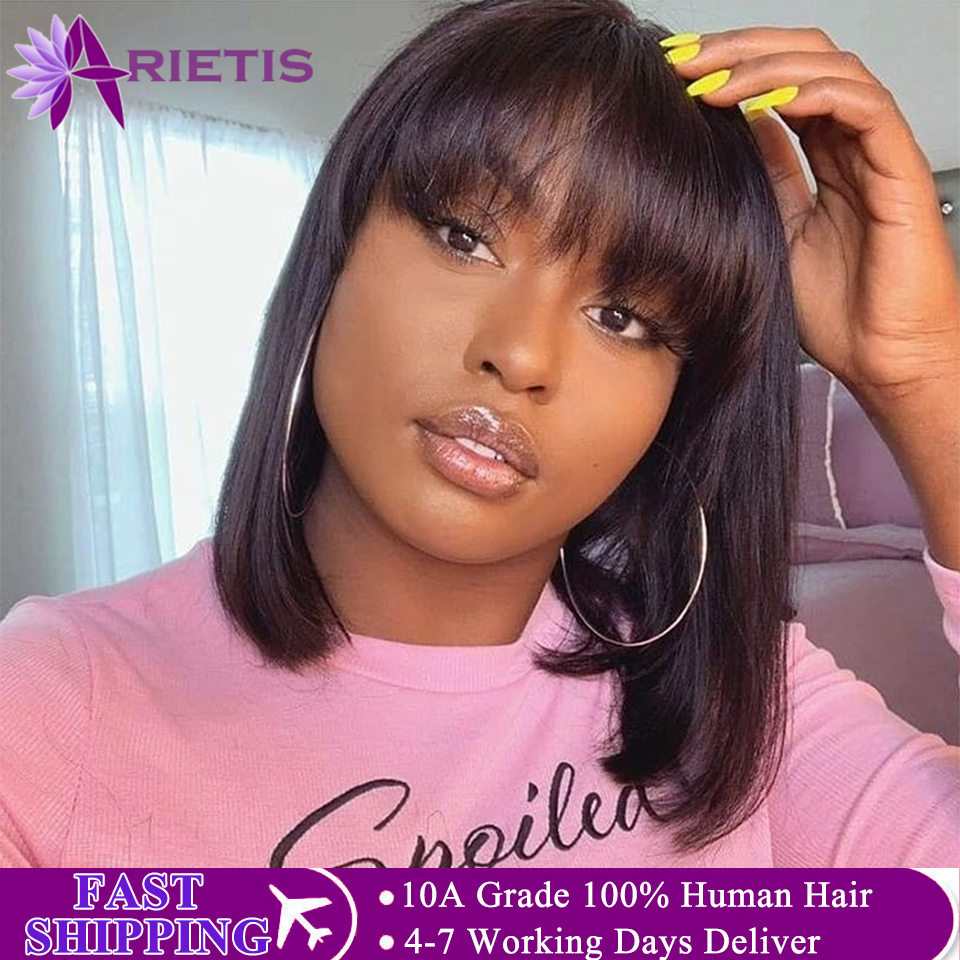 Short Human Hair Wigs Human Hair Short Wig Bob Hair Wig Human Hair Wigs With Bangs Brazilian Remy Hair Wig For Black Women