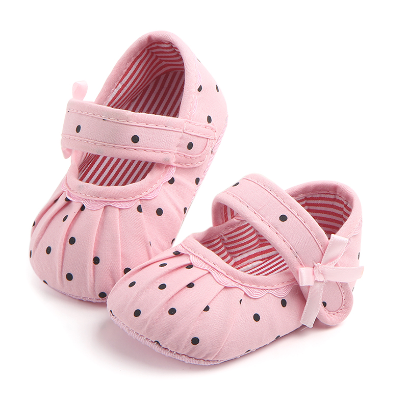 Newborn Baby Girl Cute Polka Dot Toddler Infant Bow Flower Shoes Crib  Princess Shoes For 0-18 Months Baby Anti-slip Shoes
