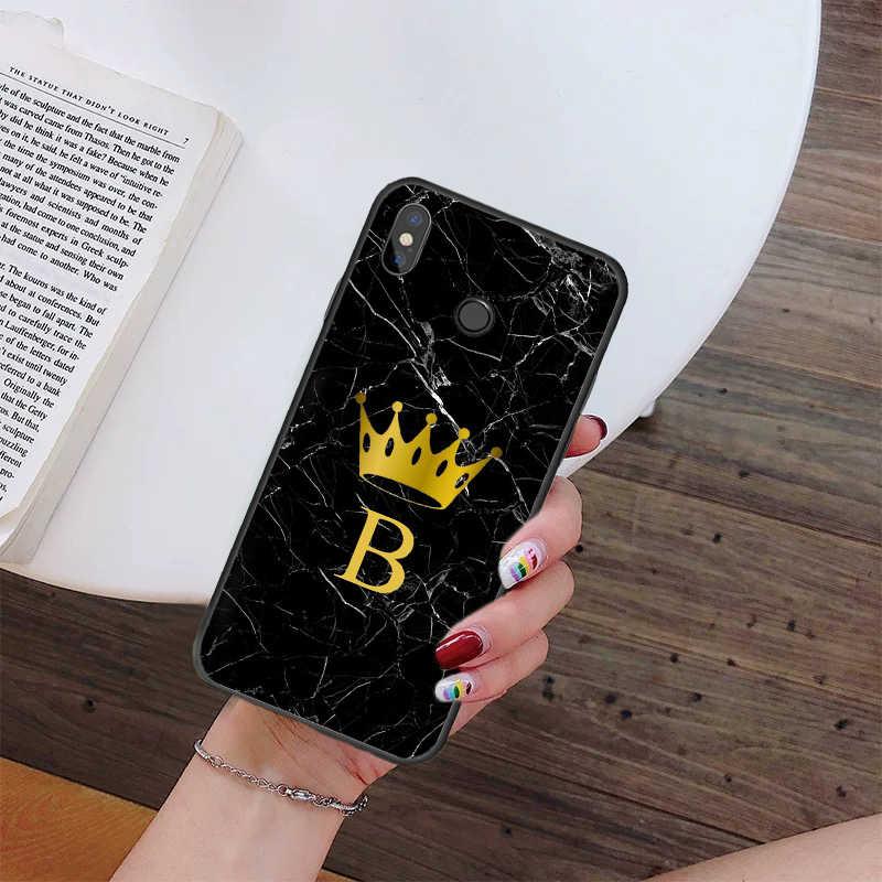 Babaite Tùy Chỉnh Tên Chữ Monogram Đen Đá Cẩm Thạch Vàng Thái Ốp Lưng Điện Thoại Xiaomi Mi5 6 A1 A2 Mi9 9SE Mi8lite f1 Mix2 2S Max2 3