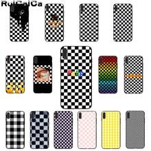 RuiCaiCa черно-белая шахматная доска Черная мягкая резина, термопластичный полиуретан чехол для телефона Apple iPhone 8 7 6 6S Plus X XS MAX 5 5S SE XR чехлы