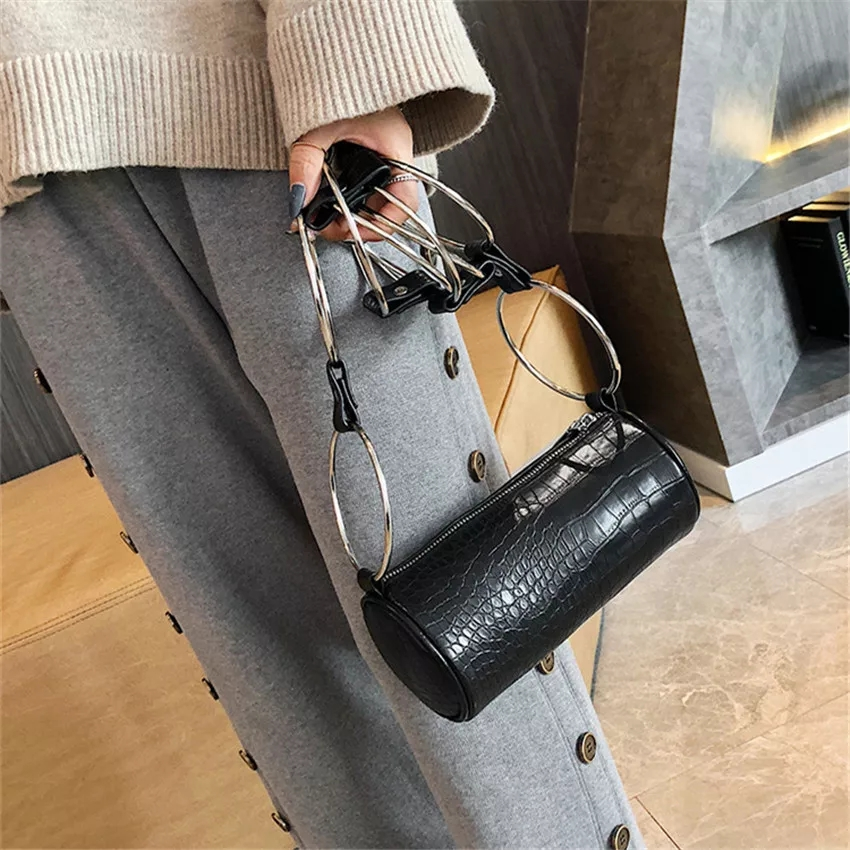 Vintage Crocodile Cylinder Women Shoulder Bags Fashion Ring Chain Female Crossbody Bag Designer Luxury PU Leather Small Purses